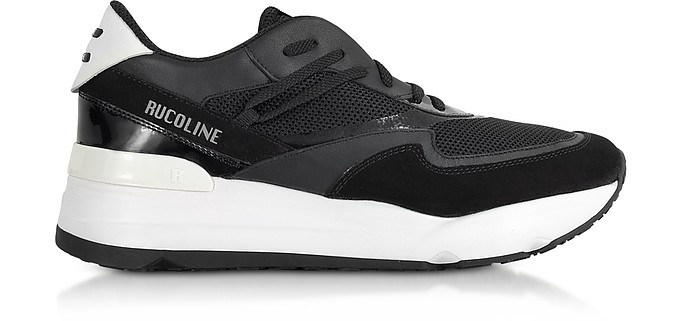 Black Nylon and Leather R-Evolve Men's Sneakers - Rucoline