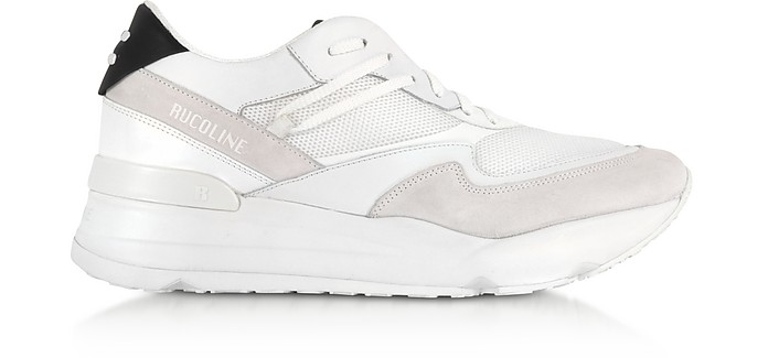 White Nylon and Leather R-Evolve Men's Sneakers - Rucoline