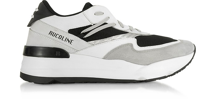 Black & White Nylon and Leather R-Evolve Men's Sneakers - Rucoline