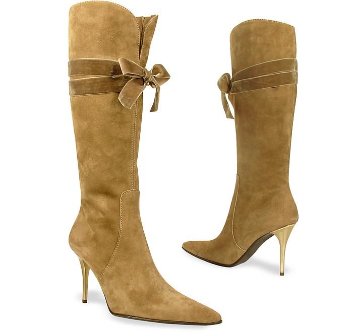 Stivali in velluto cammello con fiocco in scamosciato tacco alto