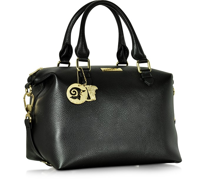 Versace Collection Black Leather Satchel Bag w Shoulder Strap at ... 8faebac76339b