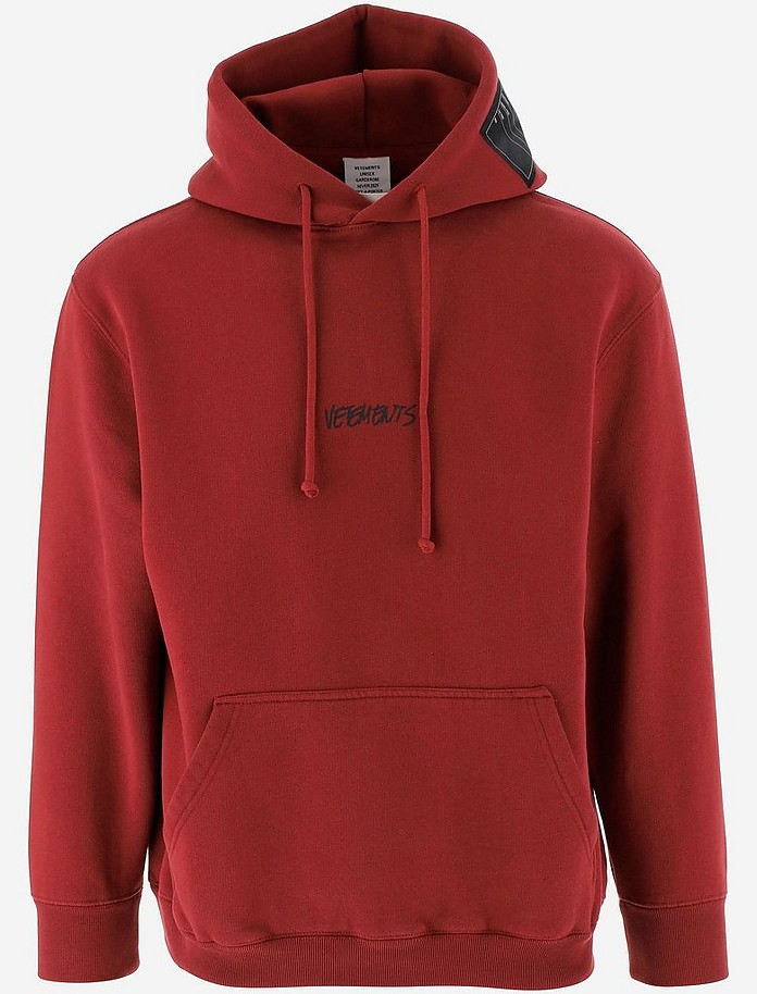 Oversized Dark Red Cotton Jersey Unisex Hoodie - Vetements