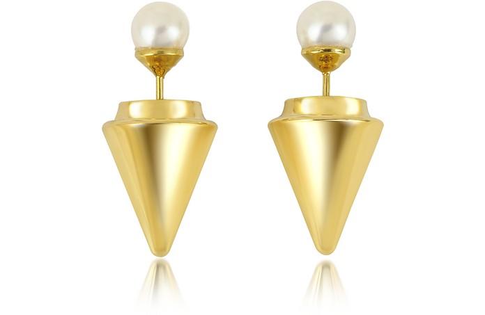Gold Plated Double Titan Pearl Earrings w/Akoya Pearls - Vita Fede