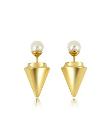 Gold Plated Double Titan Pearl Earrings w/Akoya Pearls