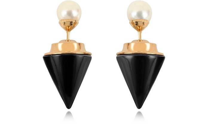 Double Titan Stone Pearl Earrings w/Akoya Pearls - Vita Fede