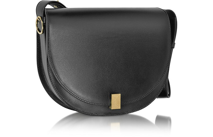 a20649d6409e9 Victoria Beckham Black Half Moon Box Leather Shoulder Bag at FORZIERI UK