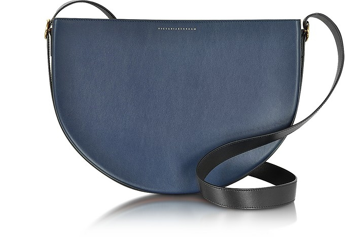 Small Half Moon Color Block Leather Bag - Victoria Beckham