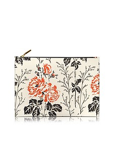 Floral Printed Leather Large Simple Pouch - Victoria Beckham