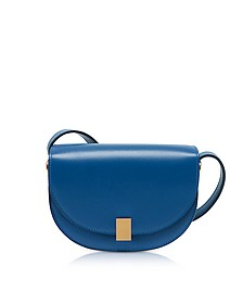 Sky Blue Leather Nano Half Moon Box Crossbody Bag - Victoria Beckham