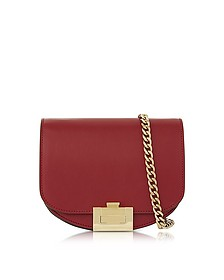 Ruby Red Leather Nano Box Crossbody Bag w/Chain - Victoria Beckham