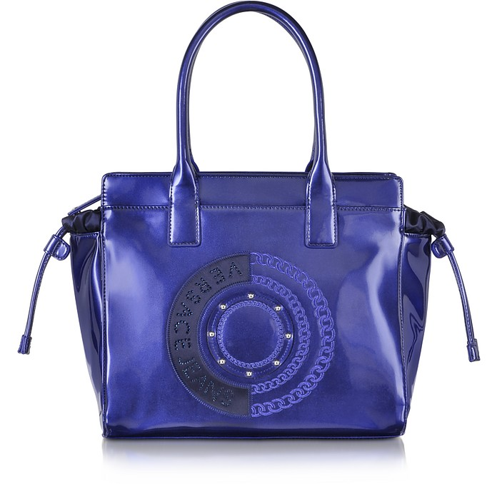 Blue Patent Eco Leather Tote - Versace Jeans