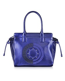 Blue Patent Eco Leather Tote