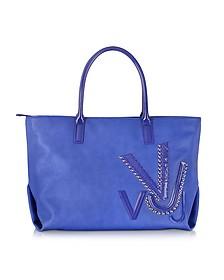 Signature VJ Blue Eco Leather Tote