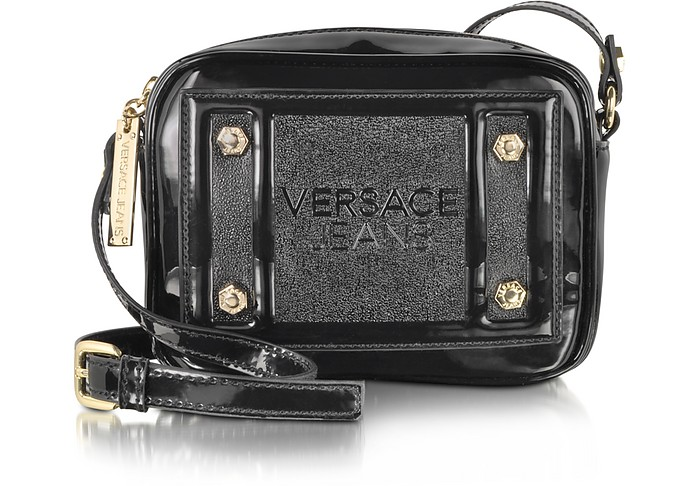 93416825522e Versace Jeans Black Patent Eco Leather Crossbody at FORZIERI