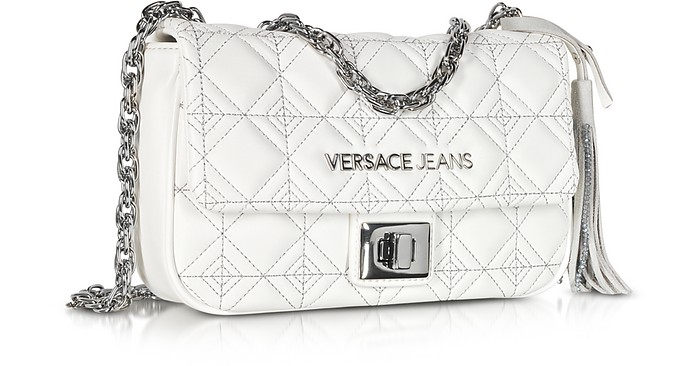 b30fbf7cbb5a Twitter · Pinterest · Share on Tumblr. White Quilted and Embroidered  Crossbody Bag - Versace Jeans