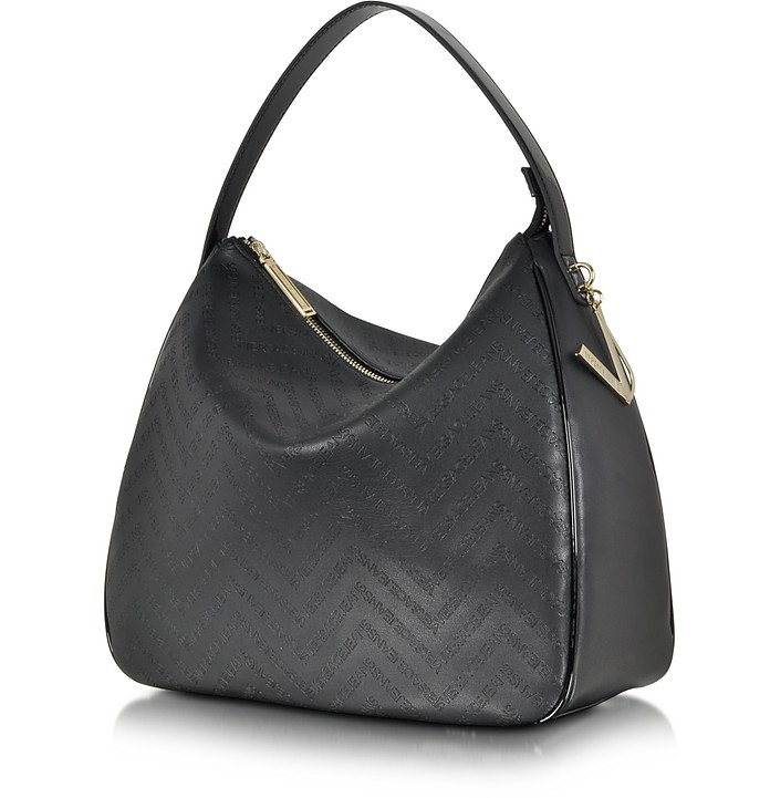 bd5df78cd9e4 Twitter · Pinterest · Share on Tumblr. Black Signature Embossed Eco Leather  Shoulder Bag - Versace Jeans