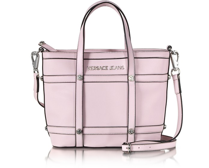 Small Light Pink Eco Leather Tote - Versace Jeans