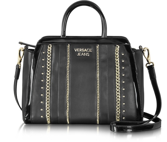 Black Eco Leather Small Tote w/Studs and Chains - Versace Jeans
