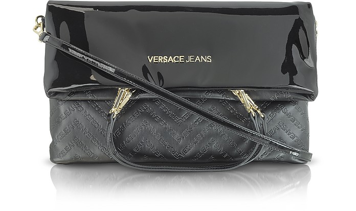 Black Patent Eco Leather Foldover Shoulder Bag - Versace Jeans