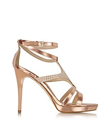 Metallic Pink Patent Eco Leather and Satin Crystal Sandal