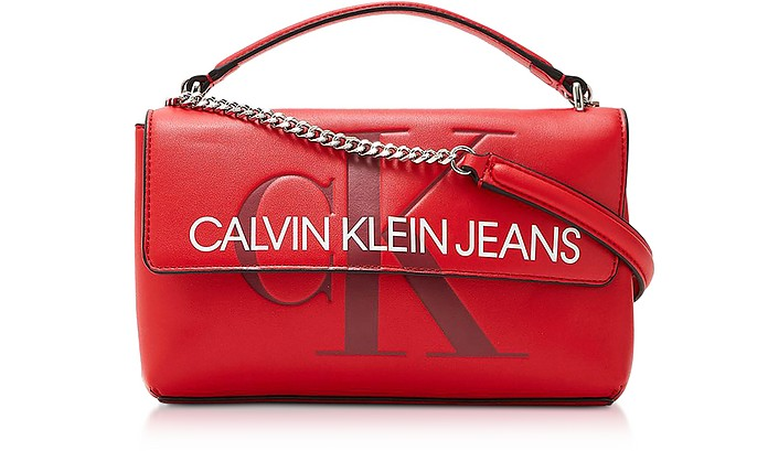 Sculpted Monogram Crossbody Bag w/ Signature Flap - Calvin Klein Collection