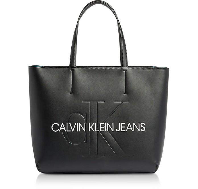 Sculpted Monogram Tote Bag w/ Signature - Calvin Klein Collection