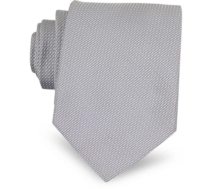 Pearl Gray Woven Silk Tie - Valentino