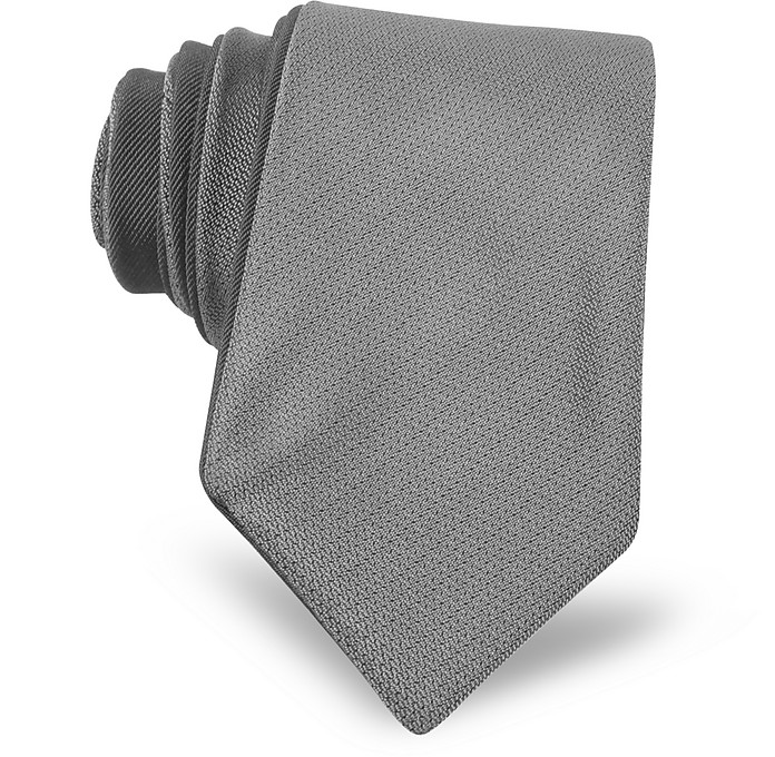 Gray/Black Color Block Silk Narrow Tie - Valentino / ヴァレンティノ