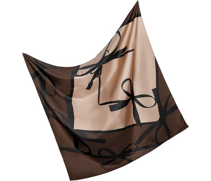 Black Bow Silk Square Scarf - Valentino