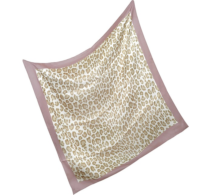 Pink Border Leopard Print Silk Square Scarf - Valentino