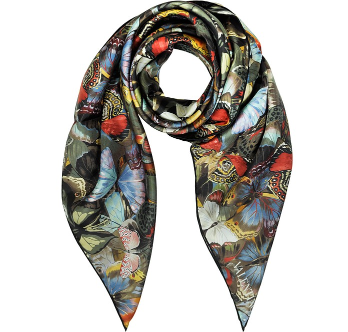 Multicolor Camubutterfly Print Silk Square Scarf - Valentino
