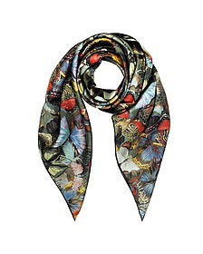 Multicolor Camubutterfly Print Silk Square Scarf