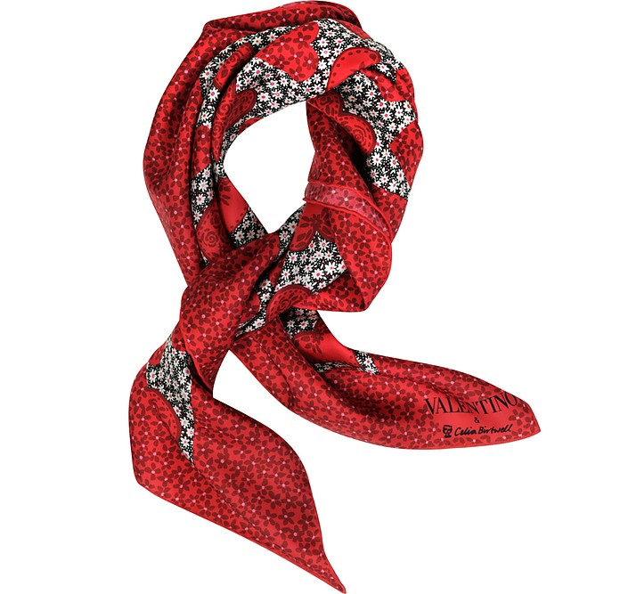 Red Camuhearts Print Silk Square Scarf - Valentino