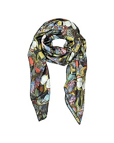 Camubutterfly Twill Silk Square Scarf