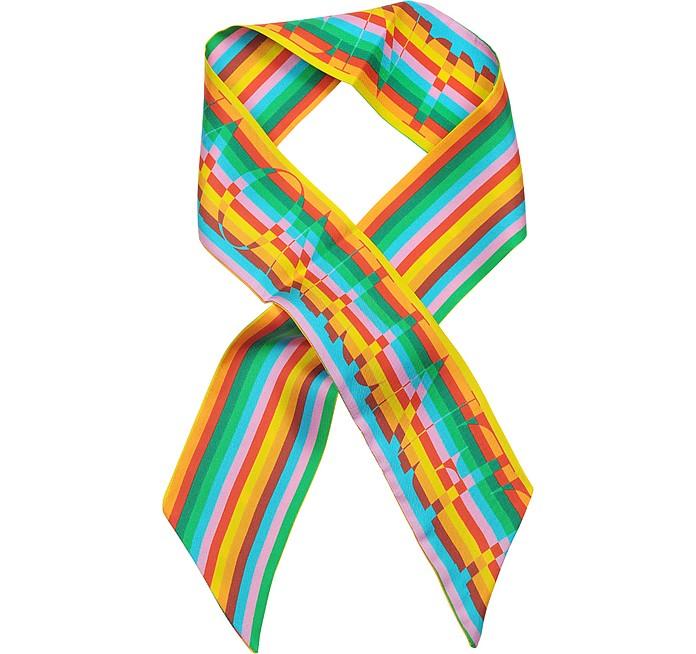 Multicolor Stripe Logo Silk Bandeau - Valentino