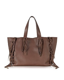 C-Rockee Chocolate Leather Fringed Tote
