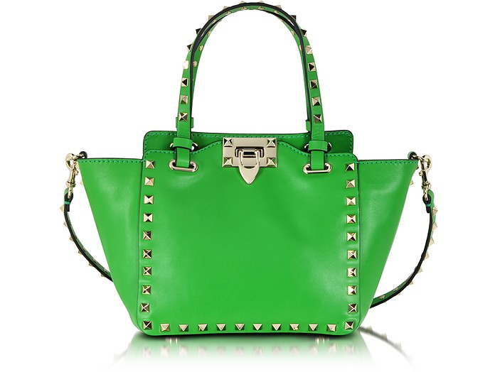 Rockstud Green Leather Mini Tote Bag - Valentino