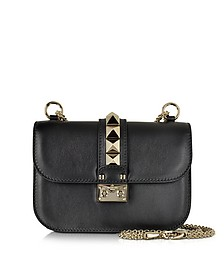 Black Leather Small Chain Crossbody Bag - Valentino