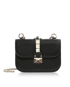 Lock Small Black Leather Chain Shoulder Bag - Valentino