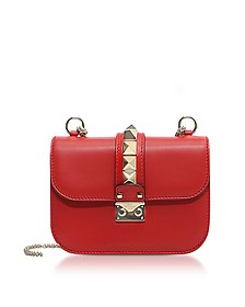 Lock Small Red Leather Chain Shoulder Bag - Valentino