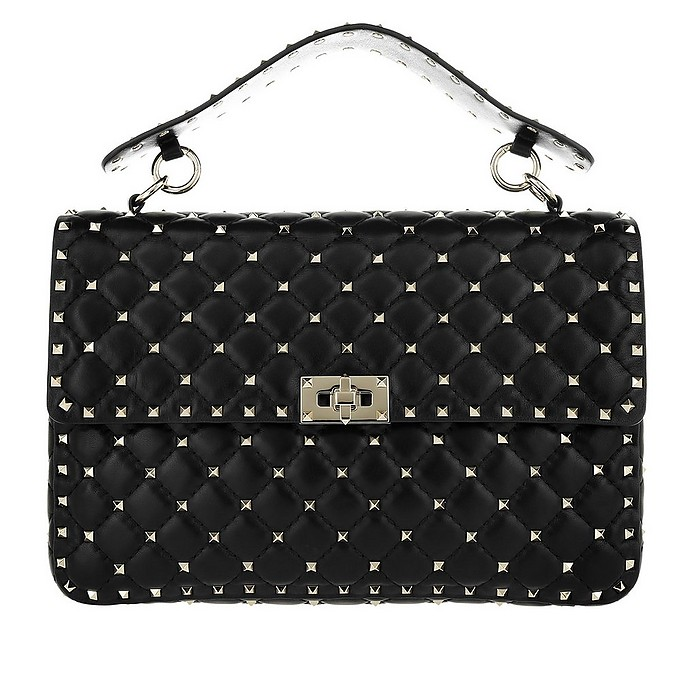 Rockstud Spike Nappa Large Crossbody Bag Black - Valentino Garavani