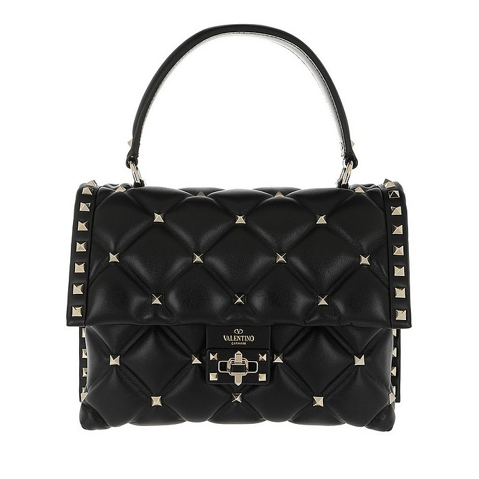 Candystud Top Handle Bag Leather Black - Valentino