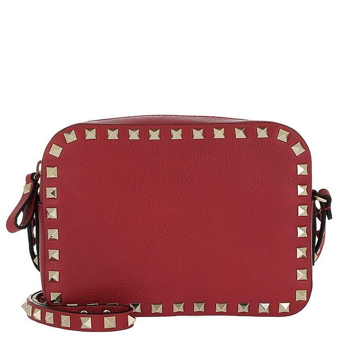 c75df4125bf3 Valentino Rockstud Camera Crossbody Bag Grained Rosso at FORZIERI