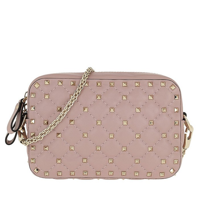 Rocksutd Spike Camera Bag Leather Lip Pink - Valentino