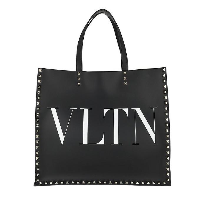 Rockstud Tote Double Handle Bag Leather Black/White - Valentino Garavani