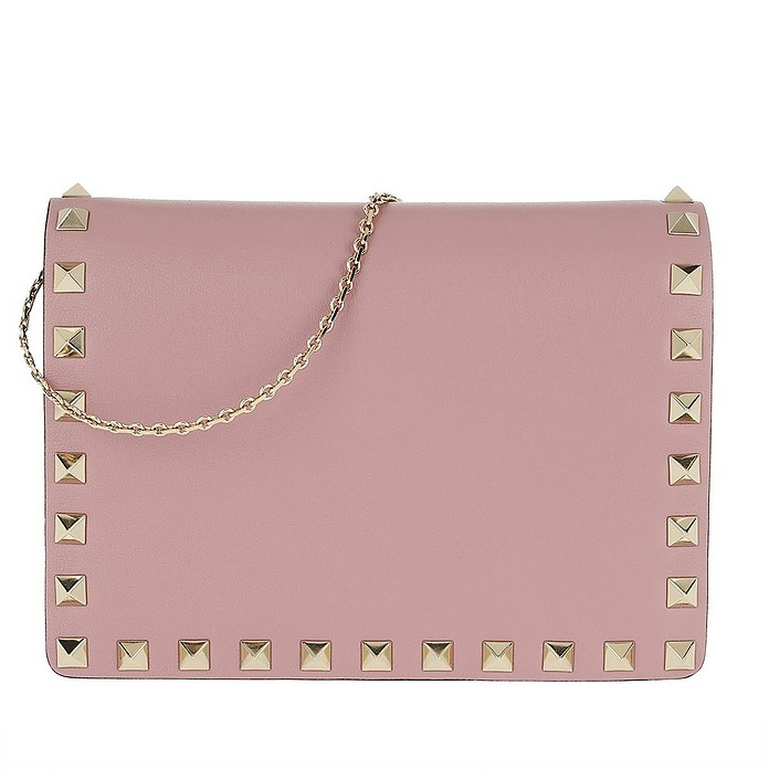 Rockstud Wallet On Chain Calf Leather Lip Pink - Valentino / ヴァレンティノ