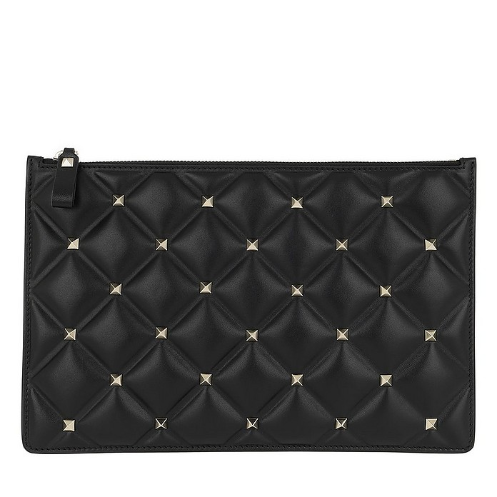 Candystud Nappa Leather Pouch Black - Valentino