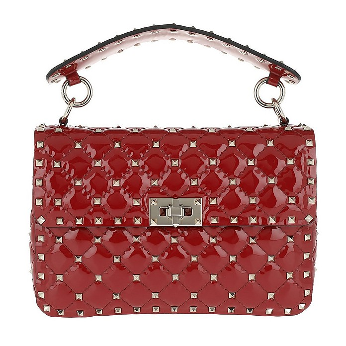 Rockstud Medium Patent Spike Crossbody Bag Rosso - Valentino