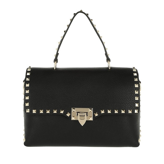 Rockstud Medium Grain Leather Handbag Nero - Valentino