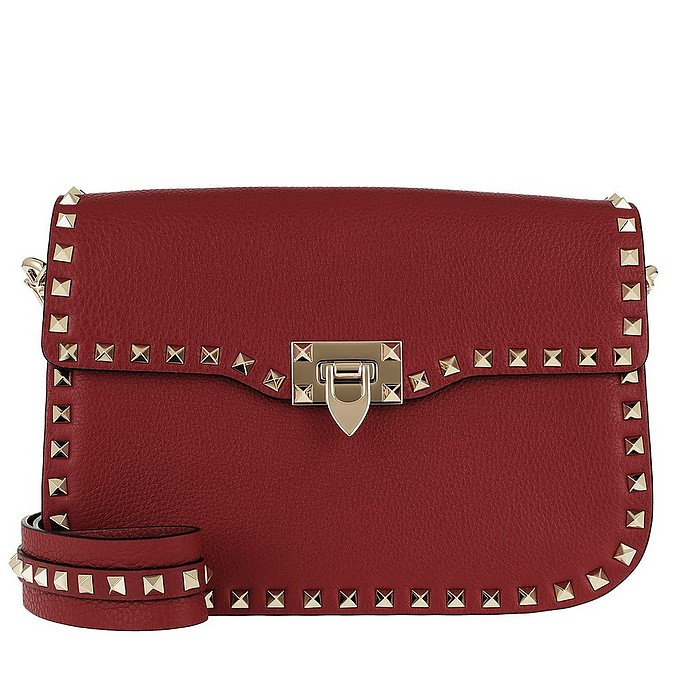 Medium Grain Rockstud Shoulder Strap Bag Rosso - Valentino